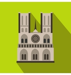 Norte Dame Cathedral Paris icon flat style vector
