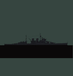 Old battleship in ocean at night vector