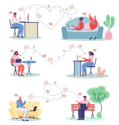 online dating concept flat set vector image