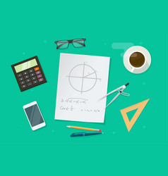 Paper sheet with geometry math formulas and vector