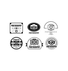 photo studio logo set photography black badge vector image