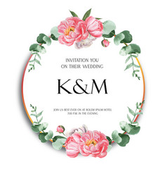 Pink peony wreaths watercolor flowers with text vector