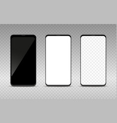 realistic smartphone mockup set black white and vector image