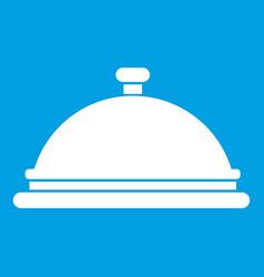 restaurant cloche icon white vector image