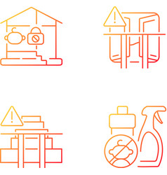 Safety precaution at home gradient linear icons vector