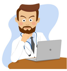 Serious doctor sitting at table with laptop vector
