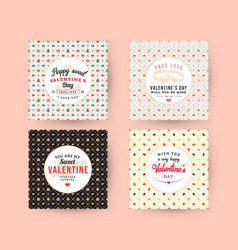 set happy valentines day typography greeting vector image