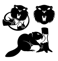 Set of beaver signs vector