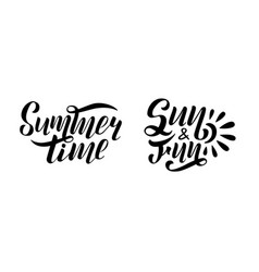 set of handwritten lettering summer time vector image