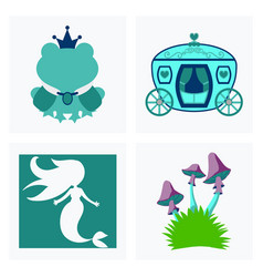 Set of icons in princces theme include frog with vector