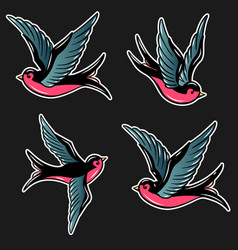 set swallow in old school tattoo style vector image