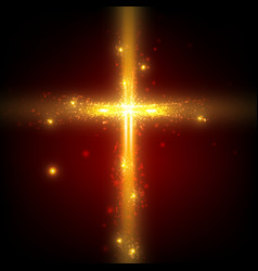 Shining cross on red background vector