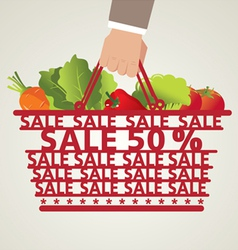 Shopping Basket and Vegetable vector
