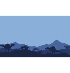 Silhouette in fields spinosaurus vector
