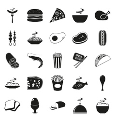Simple black style Food Icon Set vector