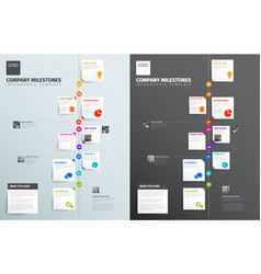 Simple vertical timeline with some facts photos vector