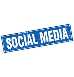 Social media blue square grunge stamp on white vector