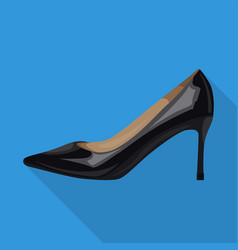 Stiletto black woman shoes elegant flat isolated vector