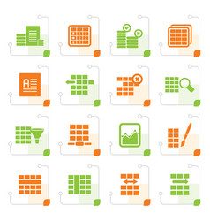 stylized database and table formatting icons vector image vector image