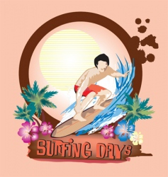 Surfing days vector