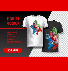 T-shirt template fully editable with paint spray vector