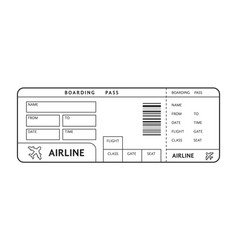 thin line example of ticket on plane with text vector image