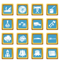 Timber industry icons set sapphirine square vector