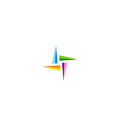 triangle colorful star logo vector image