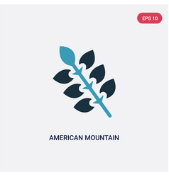 Two color american mountain ash icon from nature vector