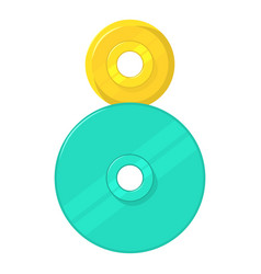 two round gears icon cartoon style vector image