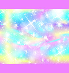 Unicorn rainbow background holographic sky vector