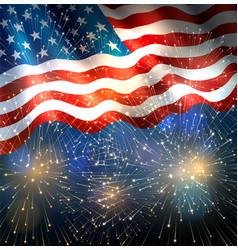 usa flag with fireworks vector image