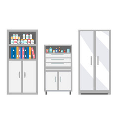 Veterinary furniture keeping pills and drugs safe vector