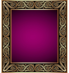 vintage frame with vegetable golden pattern vector image