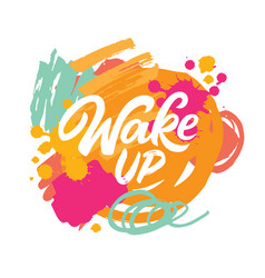 wake up lettering vector image