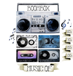 Watercolor tape recorder and cassettes vector