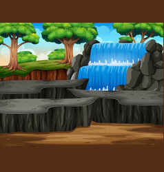Waterfall landscape background in middle fo vector