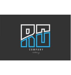 White blue alphabet letter ro r o logo icon design vector