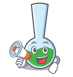 With megaphone tube laboratory character cartoon vector