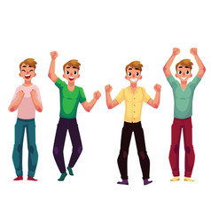 Young man boy rejoicing cheering celebrating vector