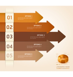 Brown color arrow number options banner vector image vector image
