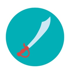 Pirate icon with saber Flat design vector image