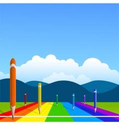 racing pencils vector image vector image