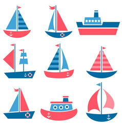 set of boat icons vector image vector image