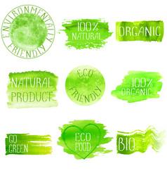set of watercolor green logo vector image