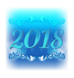 2018 christmas blue background vector image vector image