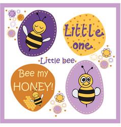 Bee stickers vector