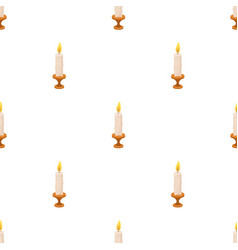 Burning candle from paraffin wax easter single vector