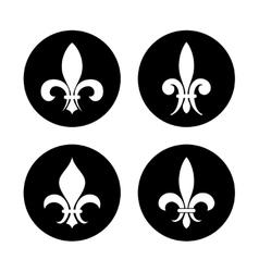 Fleur de lis set in black and white vector image vector image