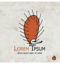 Funny orange hedgehog design on grunge paper vector image vector image